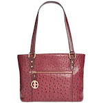 Giani Bernini Ostrich-Embossed Tote (Wine)