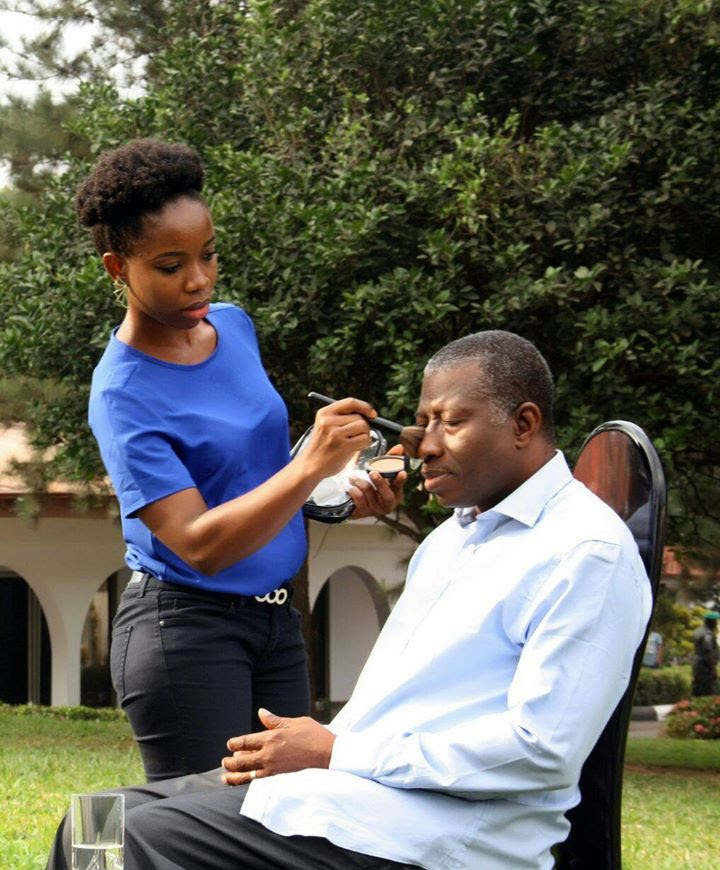 President Jonathan Being Made Up To Look Even Cuter [Photo