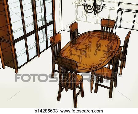 Drawing of Dining Room Table x14285603  Search Clipart, Illustration, Fine Art Prints, and EPS