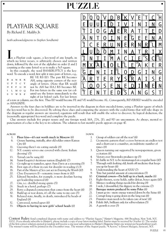 October 2014 | Harper's Cryptic puzzle solution