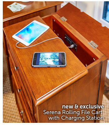 Serena Rolling File Cart with Charging Station