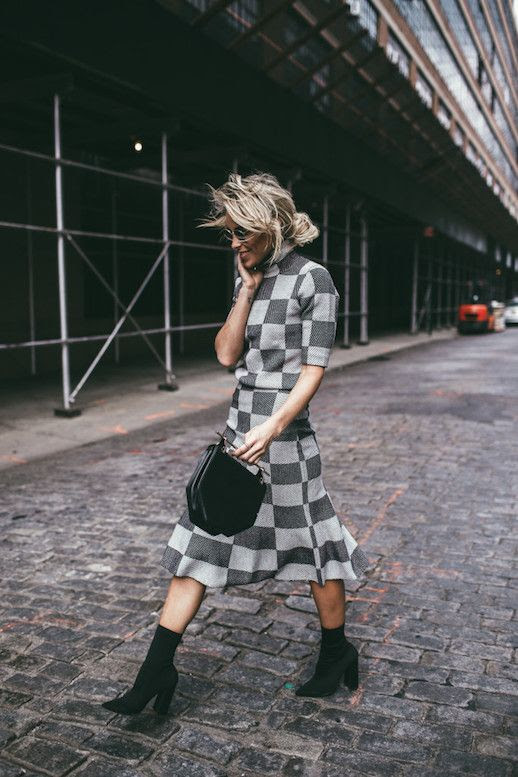 Le Fashion Blog Plaid Twinset Top Flute Skirt Black Boots Black Structured Bag Via Happily Grey