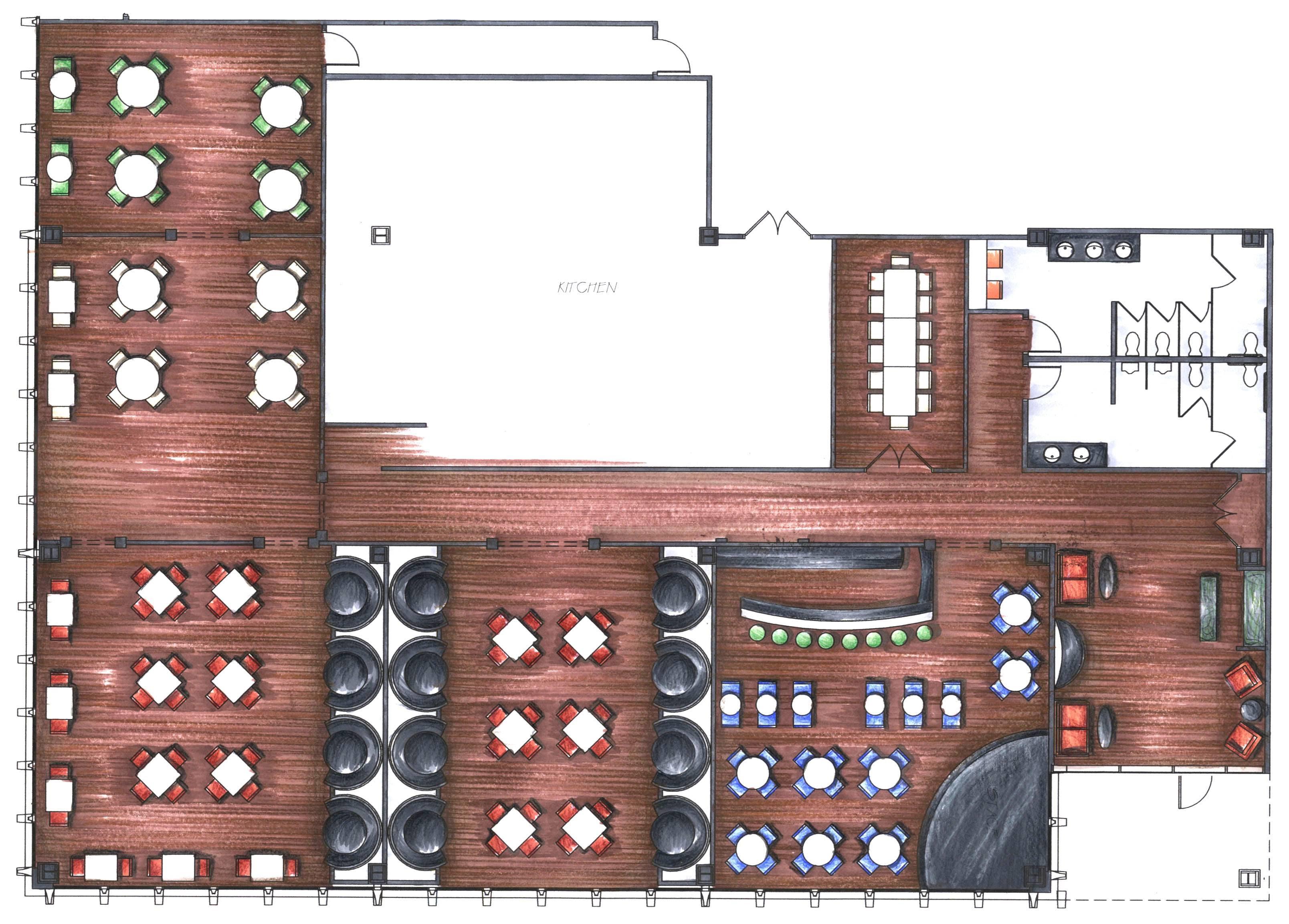 Restaurant floor plan with bar
