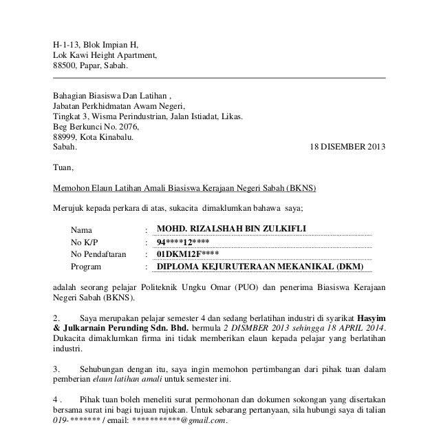 Contoh Surat Rayuan Memohon Biasiswa Terengganu N