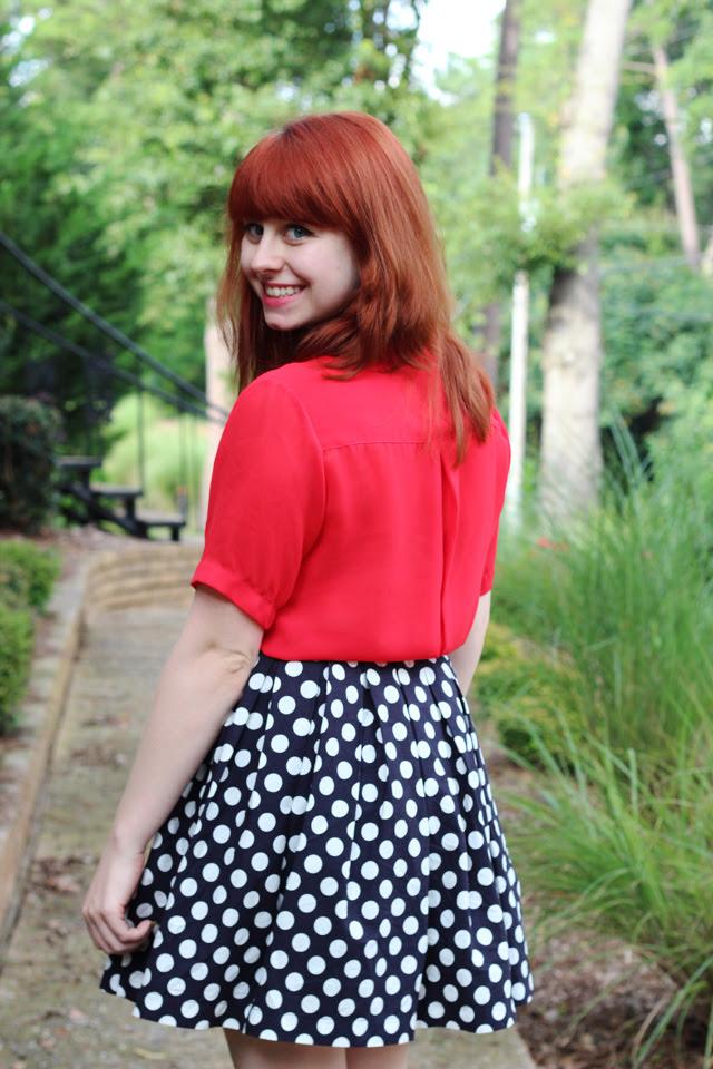 Red Blouse, Polka Dot Skirt