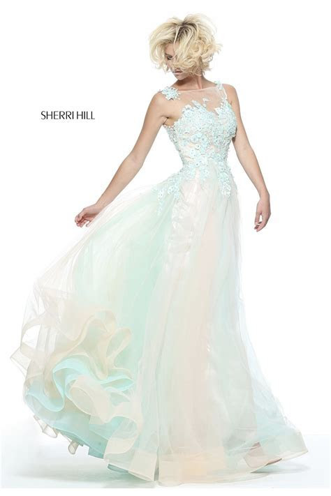 Aqua/Blush Tulle Embroidered Ball Gown