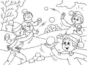 Colorear Niños Jugando Con Bolas De Nieve Dibujos De Invierno Para