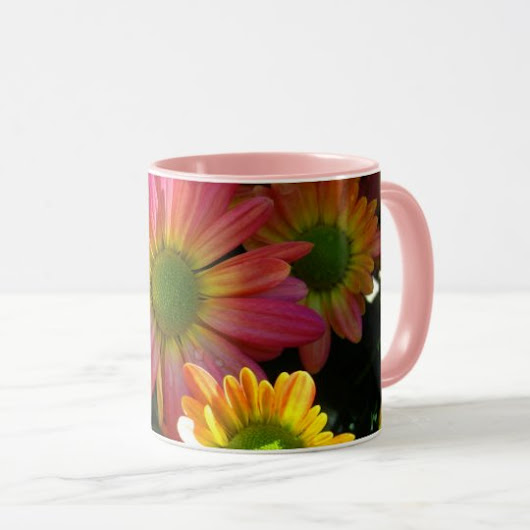 Pink and Yellow Autumn Flowers Beverage Mug
