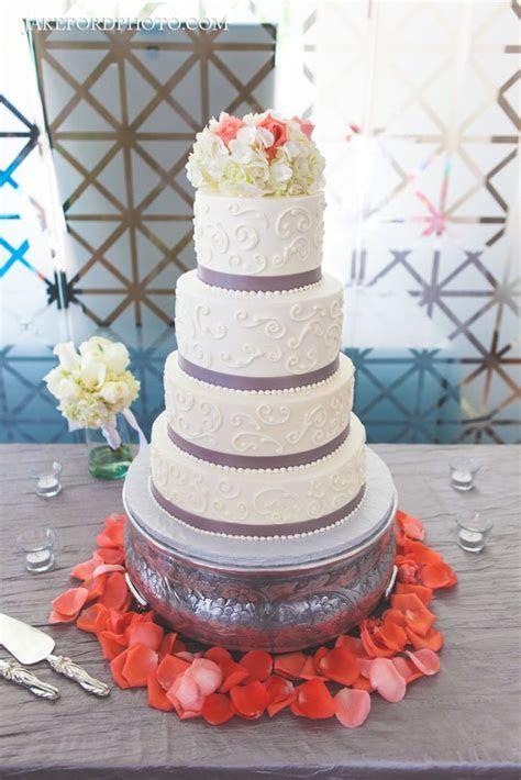 4 tier coral & gray wedding cake   Modern Coral & Gray