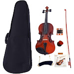 Glarry 1/4 Solid Wood Natural Color Violin+Case+Bow+Rosin+Shoulder Rest+String+Tuner