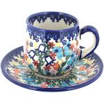 Polish Pottery Garden of Eden Espresso Cup & Saucer
