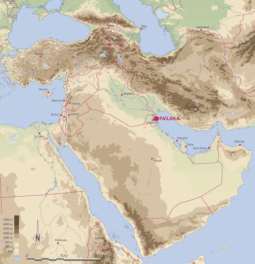 Carte du Moyen-Orient, avec indication de l'emplacement de Faïlaka. Carte H. David-Cuny © IFPO