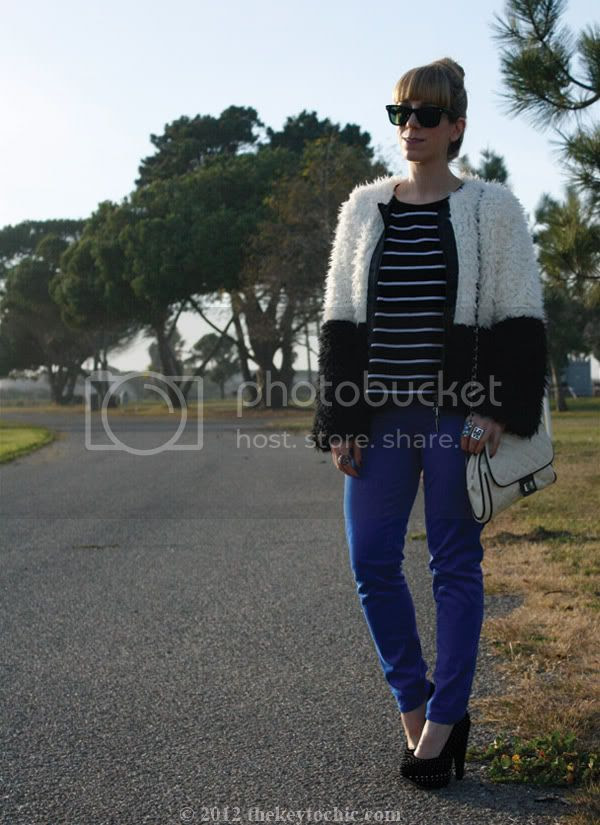 Lumiere two-tone faux fur jacket, Lucky Brand Charlie capri jeans, Forever 21 quilted handbag, Los Angeles fashion blog, southern California fashion blogger