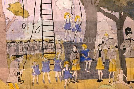 A Henry Darger picture. Hard to explain, they're sort of chaotic, but a bunch of little girls are standing around and there are some guys in what look like soldier's uniforms, and some nooses. It looks like some of the girls saved the rest of the girls from being hung by the soldiers. All the girls are wearing jumpers or dresses or skirts, except one girl who is naked, and is sitting on the ground to the side.