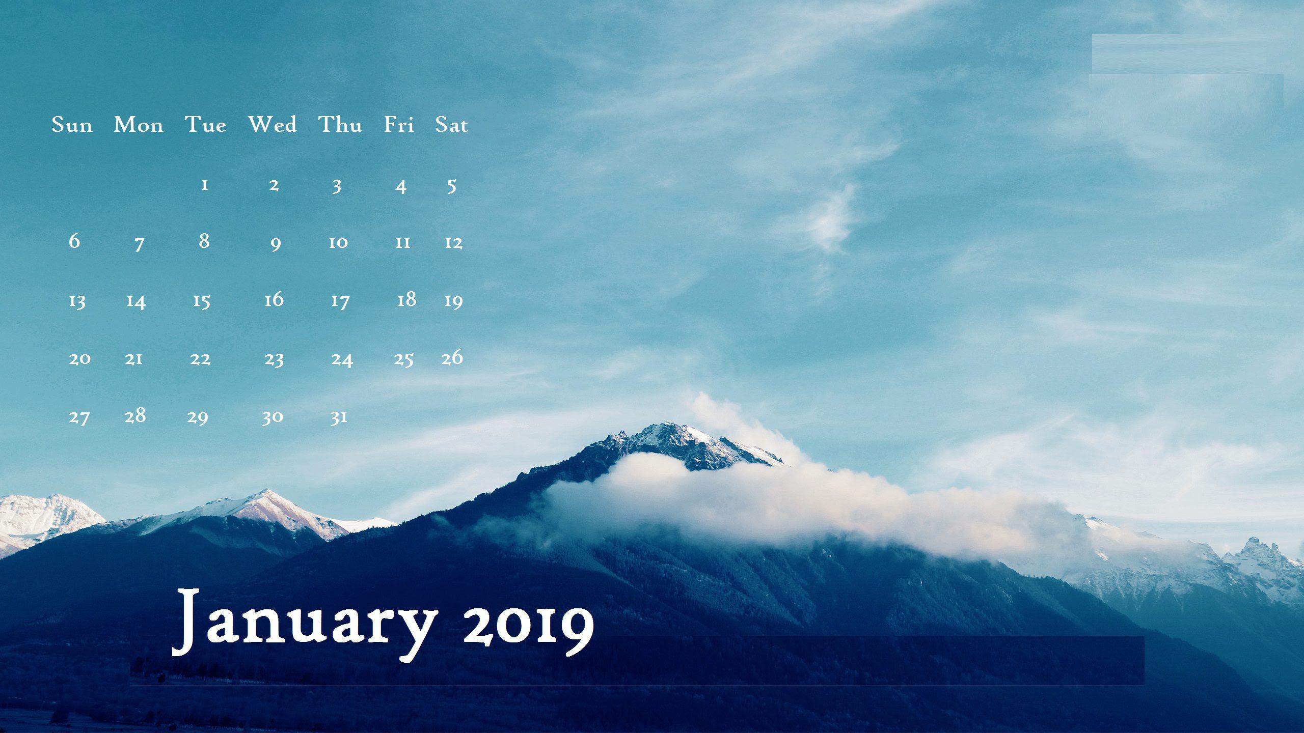 January 2019 Desktop Calendar Wallpaper