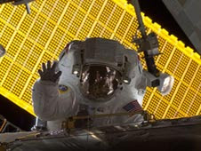 Astronaut Nicole Stott during spacewalk.