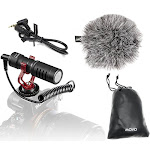 Movo VXR10 Universal Video Microphone with Shock Mount, Deadcat Windscreen, Case for