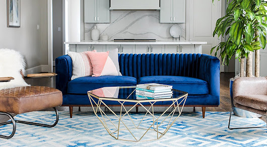 FOXLEY Blue Velvet Sofa - Really Cool Chairs