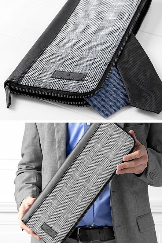 Personalized Glen Plaid Travel Tie Case w/ Leather Trim | Cool Gift Ideas for Men | Pinterest