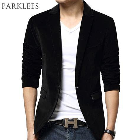 New Black Blazer Men Autumn Winter Fashion Design Mens
