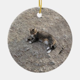 Keepsake Ornament: Tabby Cat with White Feet Double-Sided Ceramic Round Christmas Ornament