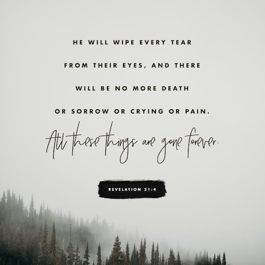 Revelation 21:4 NLT; He will wipe every tear from their eyes, and there will be no more death or sorrow or crying or pain. All these things are gone forever.""