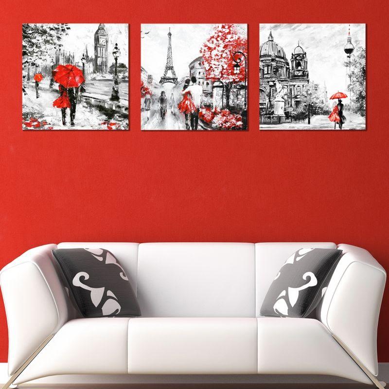 Online Modern Wall Art Decoration Of 3 Pieces London Paris Berlin