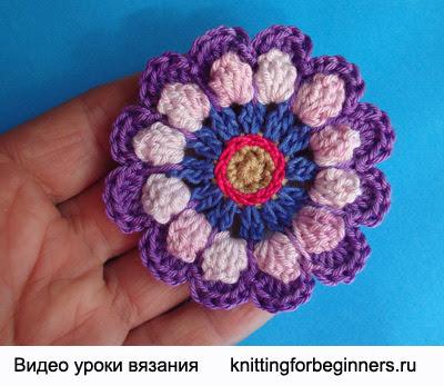 crochet flower, crocheted flowers, crochet, how to knit flower, knitting video tutorial