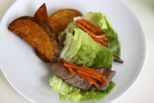 lettuce wraps with steak & carrots