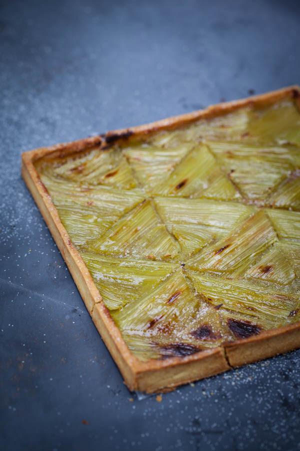 photo culinaire tarte à la rhubarbe