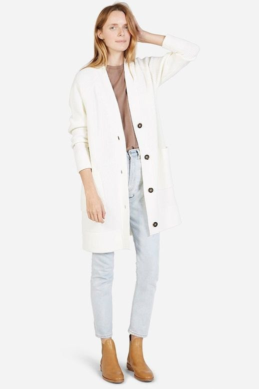 Le Fashion Blog Long Ribbed Cardigan Neutral Tee High Waisted Light Wash Jeans Camel Boots Via Everlane