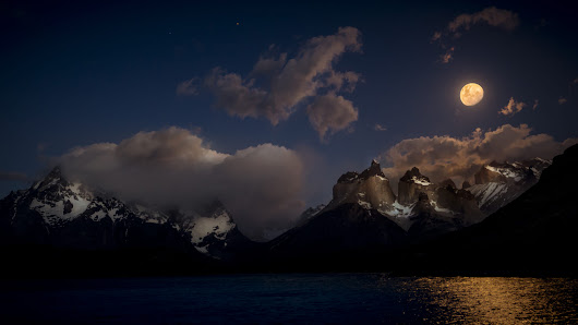 Moon Shine over Paine Massif