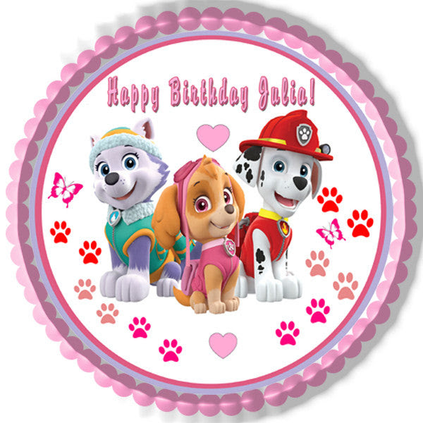 Paw Patrol Girls Edible Cake Topper Or Cupcake Topper Edible