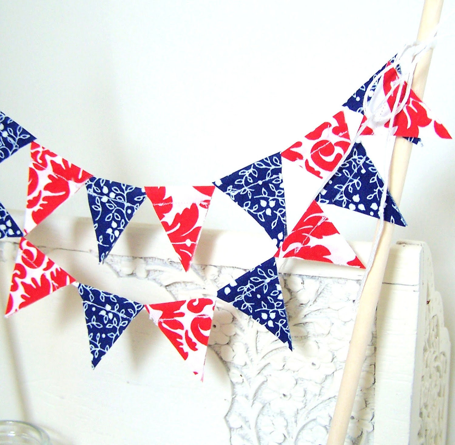 4th of July Party Cake Bunting in Red and Blue