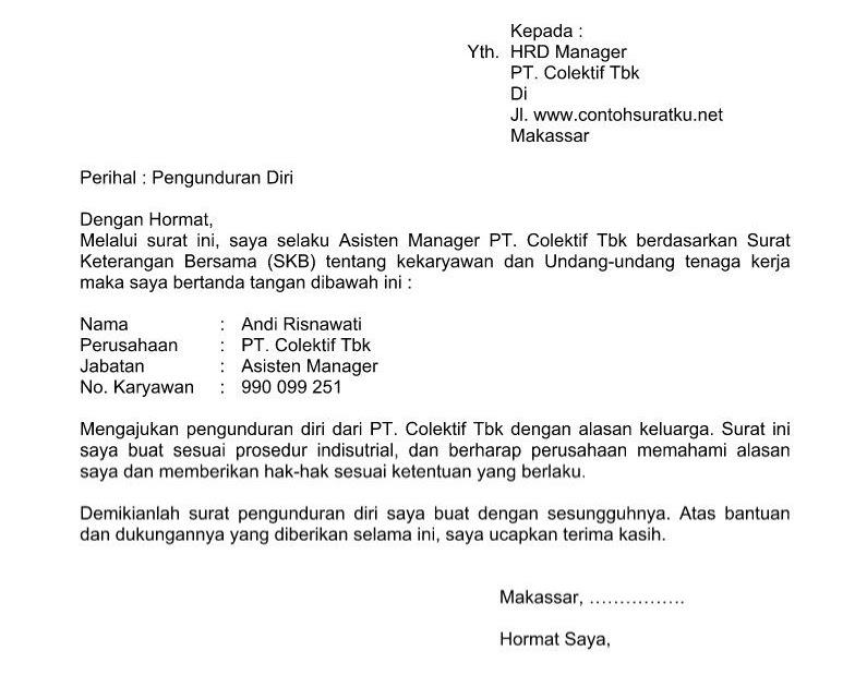 Karyawan Contoh Surat Pengunduran Diri Dari Kantor ...