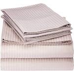 Elle 1000 Thread Count Cotton Rich Pinstripe Sheet Set - Full Gull Grey