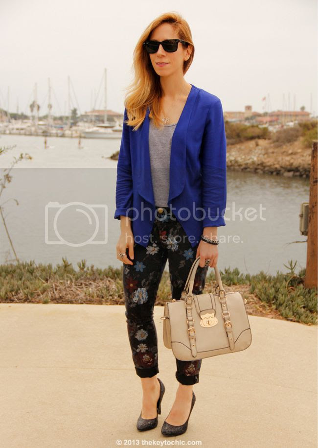 Los Angeles fashion blogger wearing gray wool fedora hat from Target, American Apparel top, blazer c/o Wallis, Current/Elliott floral jeans, New Look bag, and Mossimo glitter pumps