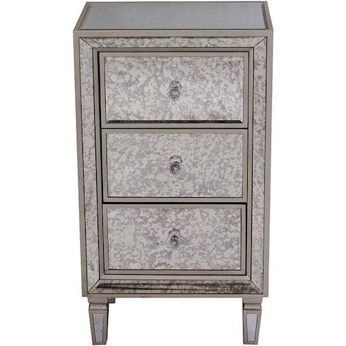 Heather Ann Creations Eleganza Series Champagne Mirror Trimmed Tall 3 Drawer Cabinet