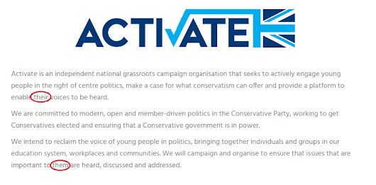 New Tory youth movement 'Activate' deletes webpage after ridicule