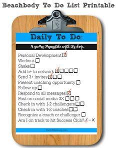 Daily Coaching To Do List Printable for Beachbody Coaches ...