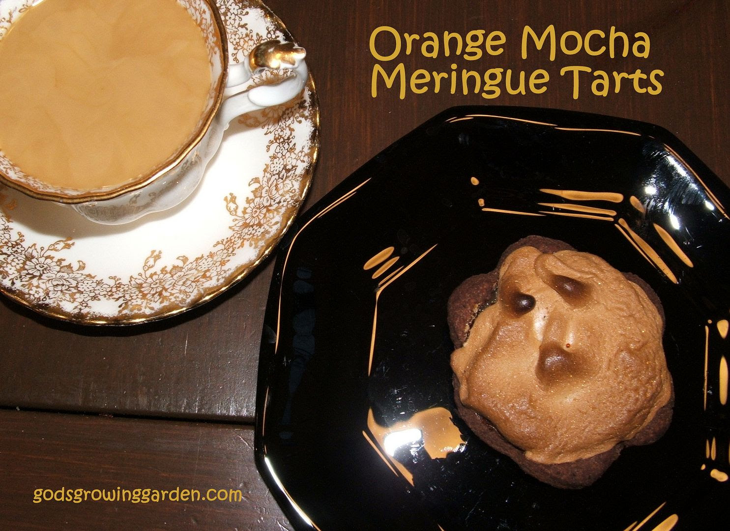 Orange Mocha Meringue Tarts, by Angie Ouellette-Towergodsgrowinggarden.com