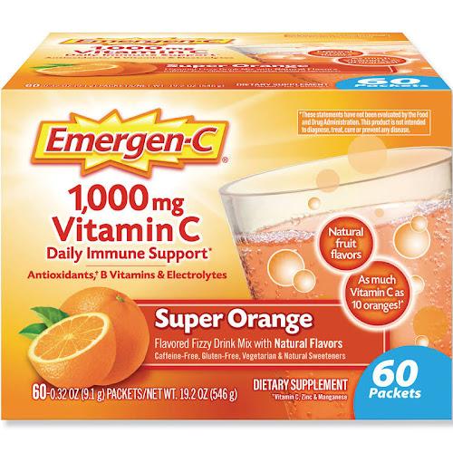 Emergen C Flavored Fizzy Drink Mix, 1000 mg Vitamin C, Super Orange - 60 pack, 0.3 oz packets
