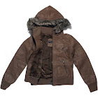 Alta Women's Faux Leather Motorcycle Jacket with Faux Fur Hood, Brown