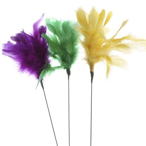 Purple, Yellow, and Green Fuzzy Feather Sprays   Feathers