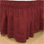 Red Wrap Around Eyelet Ruffled Bed Skirt Twin/Full -EasyFit