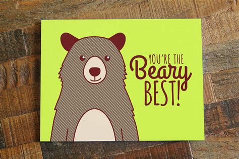 friendship  love card youre  beary  pun card