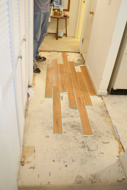 peel and stick flooring redo via foobella.blogspot.com