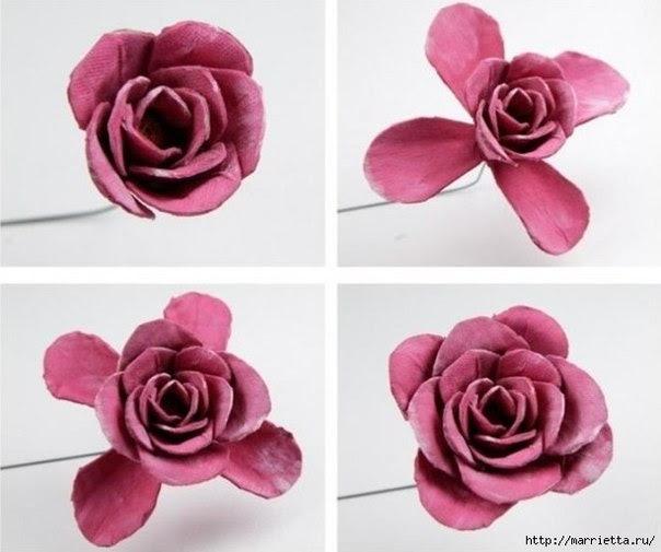 Como hacer rosas con carton de huevos06