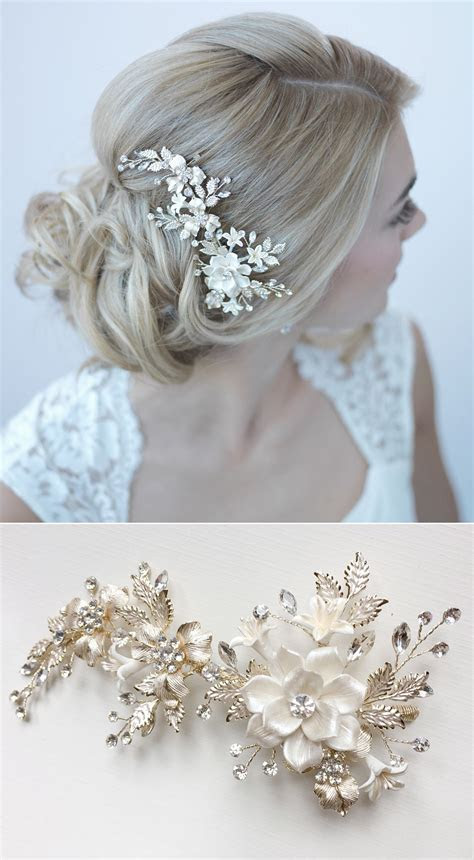 Gorgeous gold bridal comb with ivory flower petals and