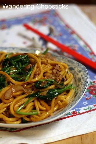 Shanghai Noodles with Ground Pork, Spinach, and Onions 10